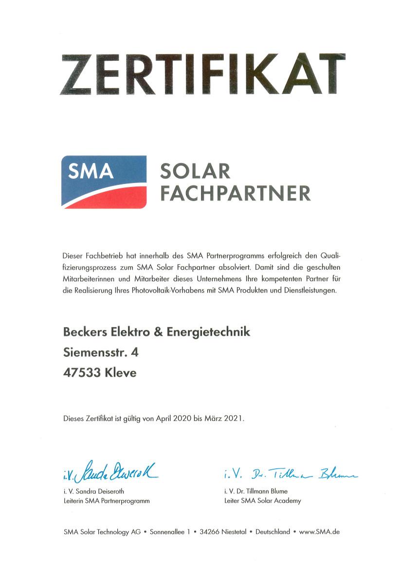 SMA-Solar-Fachpartner-Beckers-Elektro-und-Energietechnik-2020